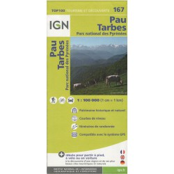 IGN 167 Pau, Tarbes 1:100 000 turistická mapa