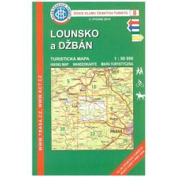 KČT 8 Lounsko a Džbán 1:50 000 turistická mapa