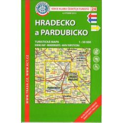 KČT 24 Hradecko a Pardubicko 1:50 000 turistická mapa