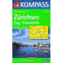 Kompass 124 Zürichsee, Zug, Einsiedeln 1:50 000 turistická mapa