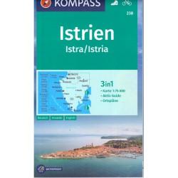 Kompass 238 Istrie 1:75 000 turistická mapa