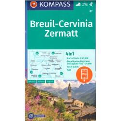 Kompass 87 Breuil, Cervinia, Zermatt 1:50 000 turistická mapa