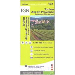 IGN 172 Aix-en-Provence, Toulon, Fréjus, NP Calanques 1:100 000 turistická mapa