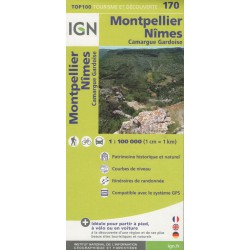 IGN 170 Montpellier, Nîmes, Camargue Gardoise 1:100 000 turistická mapa