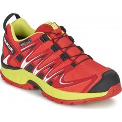 Salomon XA Pro 3D CSWP J fiery red/sulphur spring 392906 dětské nízké nepromokavé boty