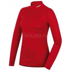 Husky Merino 100 Long Sleeve Zip L červená dámské triko dlouhý rukáv Merino vlna