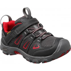 Keen Oakridge Low WP K black/tango red dětské nízké nepromokavé boty