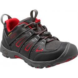 Keen Oakridge Low WP Jr black/tango red dětské nízké nepromokavé boty
