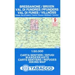 Tabacco 9 Bressanone/Brixen, Val di Fundres/Pfunders, Val di Funes/Villnöss 1:50 000