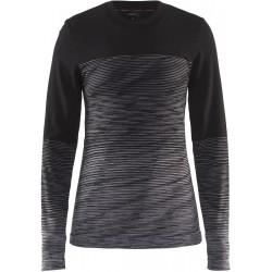 Craft Wool Comfort 2.0 CN LS W black/grey 1905341-999975 dámské triko dlouhý rukáv