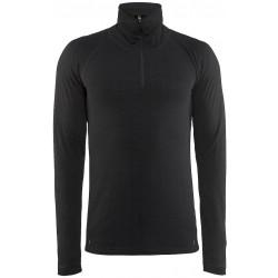 Craft Nordic Wool Zip Neck M black/dk. grey melange 1904117-9975 pánské triko