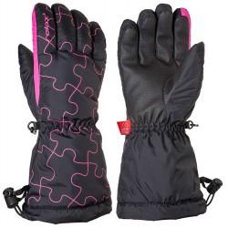 Relax Puzzy RR15C černá/růžová dětské lyžařské rukavice