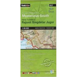 Vektor 457 Albánie Mysterious South 1:80 000 turistická mapa detail