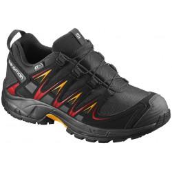 Salomon XA Pro 3D CSWP J black/black/fiery red 398499 dětské nízké nepromokavé boty
