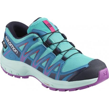 6e4507e5024 Salomon XA Pro 3D CSWP J blue bird fjord blue purple 406475 dětské nízké  nepromokavé boty