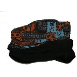 Novia multifunkční šátek fleece 02 modrooranžový zimní tubus