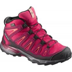Salomon X-Ultra Mid GTX J 398651 virtual pink/beet red dětské nepromokavé trekové boty
