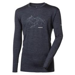 Progress Magar Trek tmavě šedý melír pánské triko dlouhý rukáv merino vlna